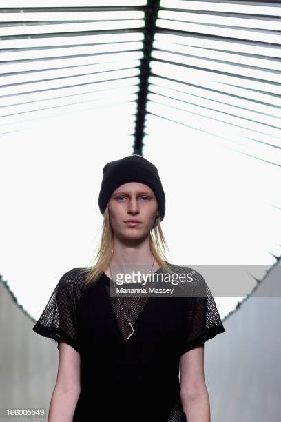 A model rehearses ahead of the Bec and Bridge show during MercedesBenz Fashion Week Australia Spring/Summer 2013/14 at Carriageworks on April 8 2013...