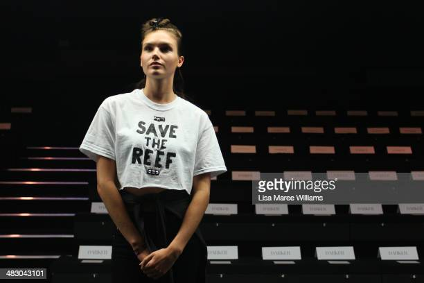 A model rehearses ahead of the Carla Zampatti show at MercedesBenz Fashion Week Australia 2014 at Carriageworks on April 6 2014 in Sydney Australia