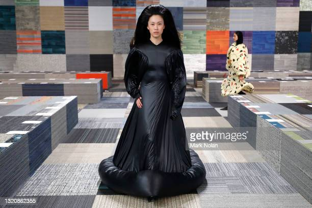 Model rehearses ahead of the Jordan Dalah show during Afterpay Afterpay Australian Fashion Week 2021 Resort '22 Collections at Carriageworks on May...