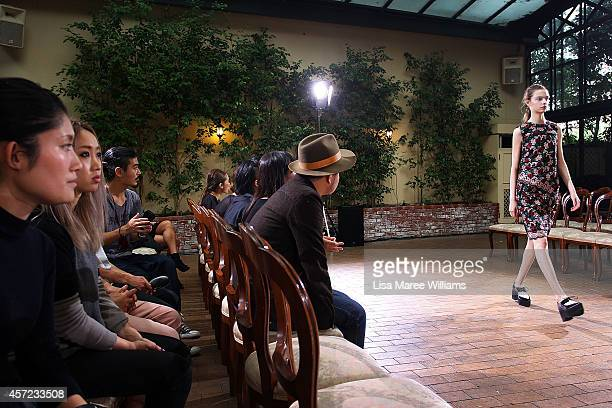 A model rehearses ahead of the LAMARCK show as part of Mercedes Benz Fashion Week TOKYO 2015 S/S at RISTORANTE ASO on October 15 2014 in Tokyo Japan