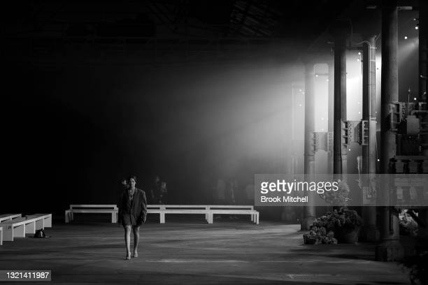 Model rehearses ahead of the Romance Was Born show during Afterpay Australian Fashion Week 2021 Resort '22 Collections at Carriageworks on May 31,...