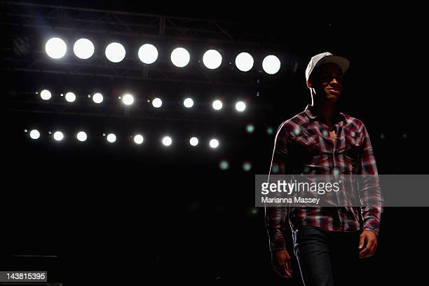 A model rehearses ahead of the Style Hong Kong show on day five of MercedesBenz Fashion Week Australia Spring/Summer 2012/13 at the Overseas...