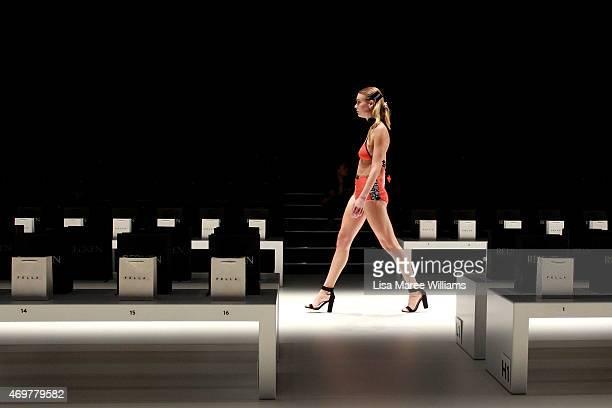 A model rehearses ahead of the Swim Designer Showcase show at MercedesBenz Fashion Week Australia 2015 at Carriageworks on April 15 2015 in Sydney...