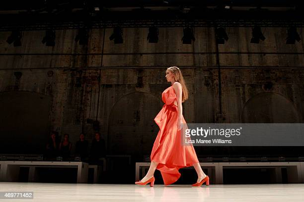 Model rehearses ahead of the Wang Yutao show at Mercedes-Benz Fashion Week Australia 2015 at Carriageworks on April 15, 2015 in Sydney, Australia.
