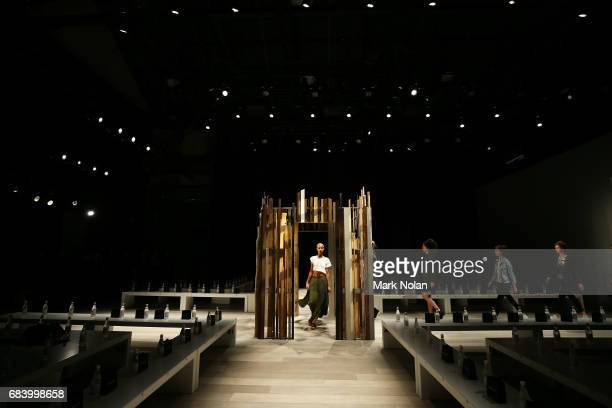 A model rehearses ahead of the Yousef Akbar show at MercedesBenz Fashion Week Resort 18 Collections at Carriageworks on May 17 2017 in Sydney...