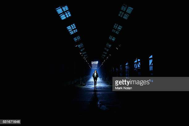 A model rehearses as she prepares ahead of the Aje show at MercedesBenz Fashion Week Resort 17 Collections at Carriageworks on May 16 2016 in Sydney...