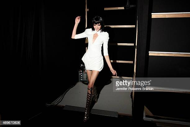 A model rehearses backstage ahead of the Zhivago show at MercedesBenz Fashion Week Australia 2015 at Carriageworks on April 14 2015 in Sydney...