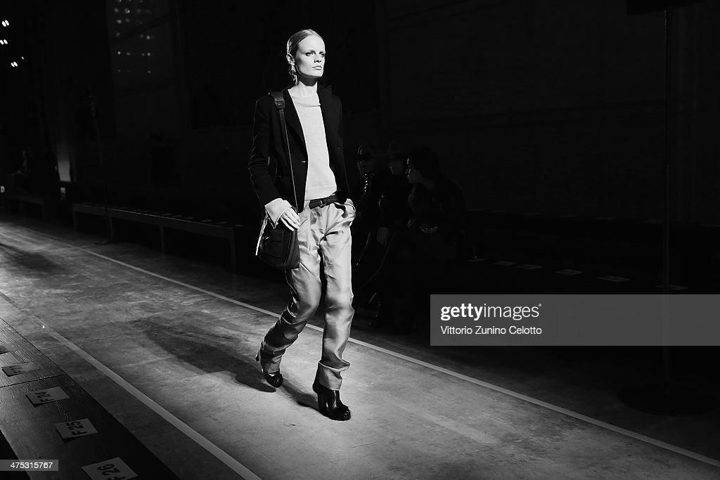 A model rehearses before prior the IRFE by Olga Sorokina show as part of the Paris Fashion Week Womenswear Fall/Winter 2014-2015 at Espace Vendome on February 27, 2014 in Paris, France.