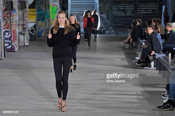 Model rehearses for the Anthony Vaccarello runway show as part of Paris Fashion Week Womenswear Spring/Summer 2015 on September 23, 2014 in Paris,...