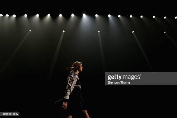A model rehearses on the catwalk ahead of the Cameo show at MercedesBenz Fashion Week Australia 2014 at Carriageworks on April 8 2014 in Sydney...