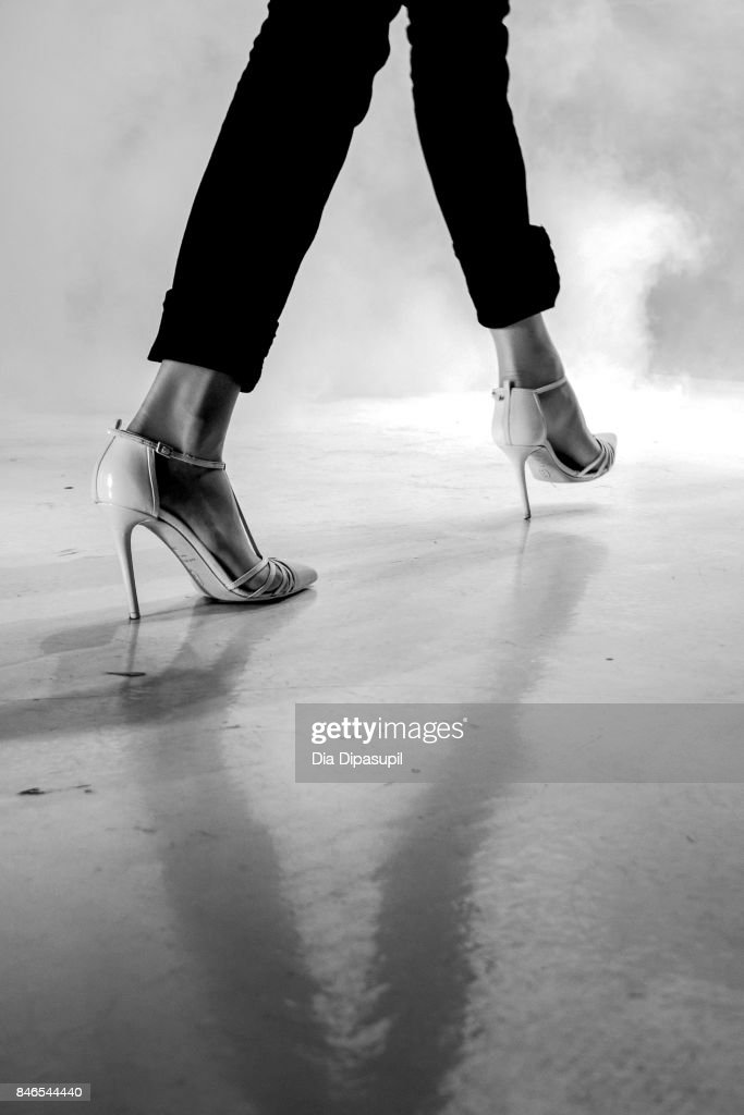 A model rehearses on the runway before the Chocheng fashion show during New York Fashion Week: The Shows at Gallery 3, Skylight Clarkson Sq on September 13, 2017 in New York City.