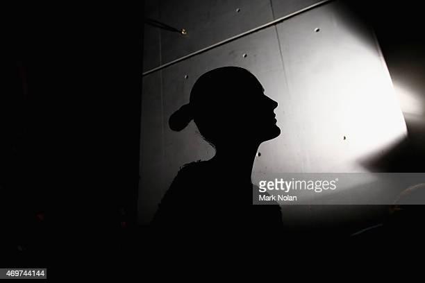 A model rehearses the catwalk ahead of The Innovators Fashion Design Studio show at MercedesBenz Fashion Week Australia 2015 at Carriageworks on...
