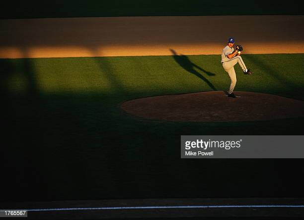Baseball,pitcher standing on mound, about to throw ball,elevated view