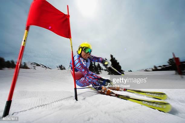 Skier in slalom ski race at Mammoth Mountain Ski Resort in Mammoth Lakes California