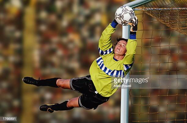 Soccer goalie diving to catch ball in front of net