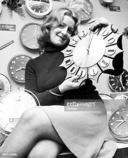 Model reminding people to put back their clocks by one hour at the end of British Summer Time 26th October 1974