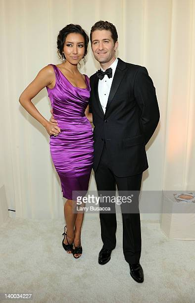 Model Renee Puente and Actor Matthew Morrison arrive at the 20th Annual Elton John AIDS Foundation Academy Awards Viewing Party at The City of West...