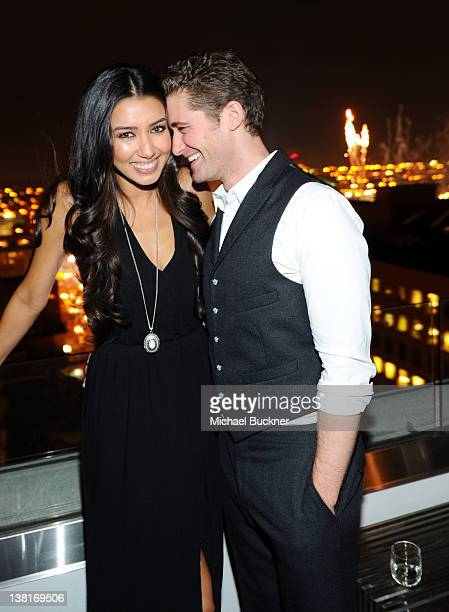 Model Renee Puente and actor Matthew Morrison attend Audi Celebrates Super Bowl 2012 At The Audi Forum Indianapolis at The Penthouse at The Conrad...