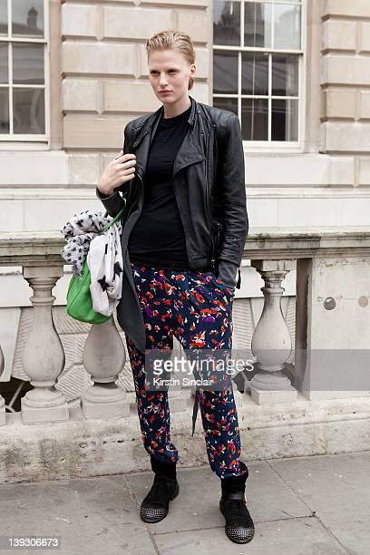 Model Renee van Seggerm street style at London fashion week autumn/winter 2012 womenswear shows on February 18 2012 in London England