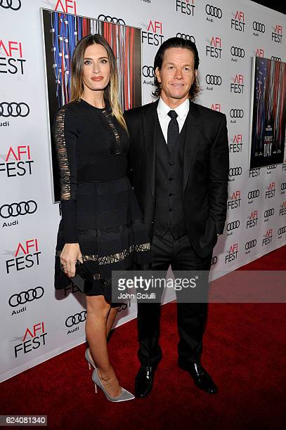Model Rhea Durham and Actor Mark Wahlberg attend the AFI Closing Night Screening of Patriots Day at TCL Chinese Theatre on November 17 2016 in...