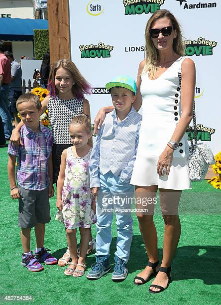 Model Rhea Durham and family attend the screening of Lionsgate's 'Shaun The Sheep Movie' at Regency Village Theatre on August 1 2015 in Westwood...