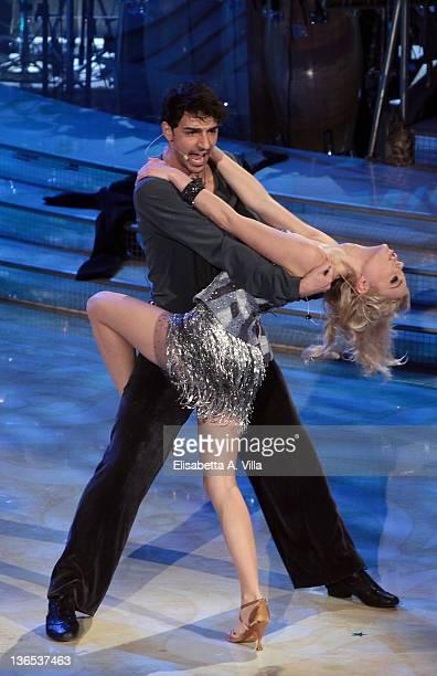 Model Ria Antoniu and her dance partner Raimondo Todaro perform on the Italian TV show 'Ballando Con Le Stelle' at Auditorium Rai on January 7 2012...