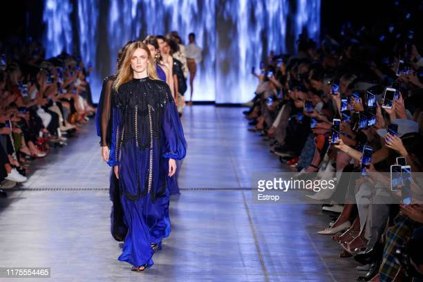 Model Rianne Van Rompaey walks the runway at the Alberta Ferretti show during Milan Fashion Week September 2019 at Italy on September 18, 2019 in...
