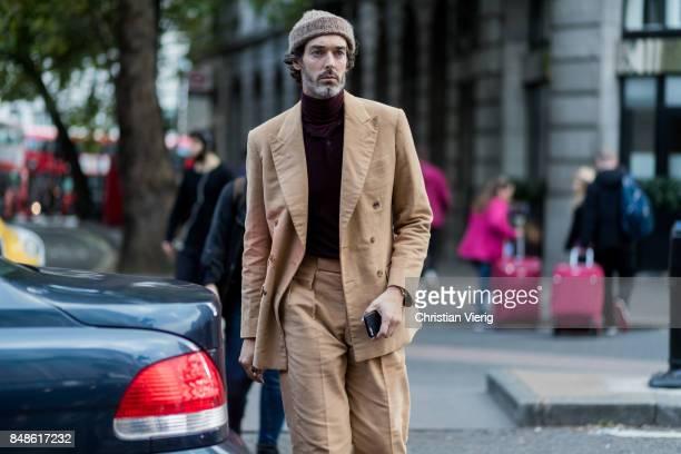 Model Richard Biedul outside Peter Pilotto during London Fashion Week September 2017 on September 17 2017 in London England