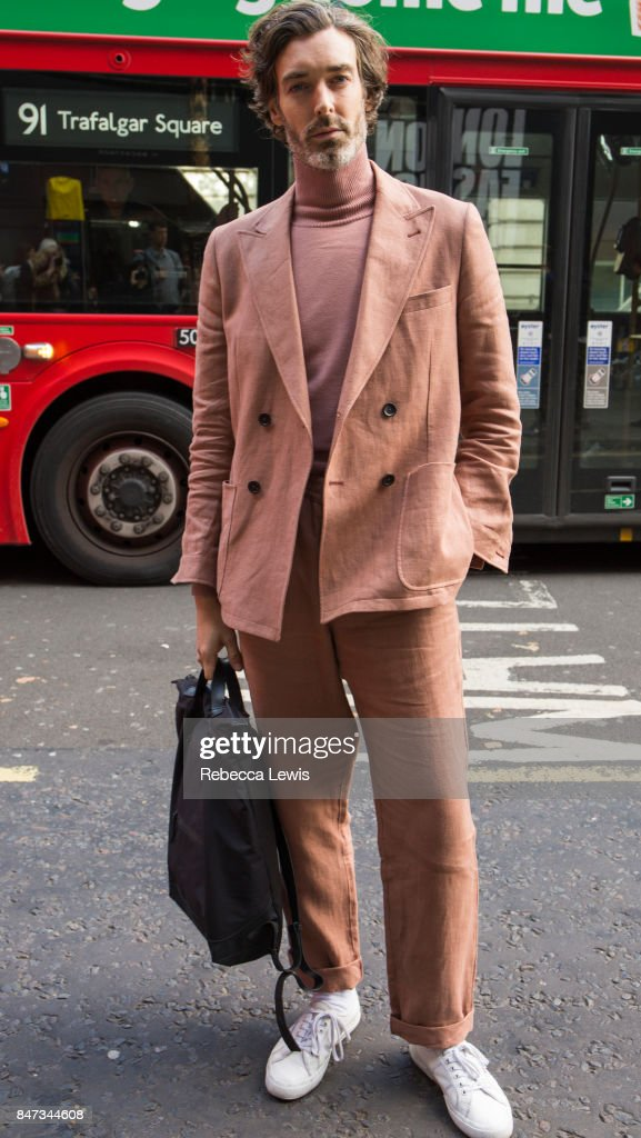 Model Richard Biedul wear Oliver Spencer on day one of London Fashion Week September 2017 on September 15, 2017 in London, England.