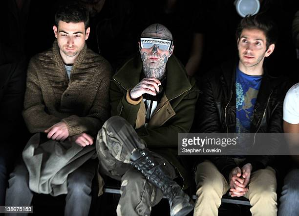 Model Rick Genest and choreographer Donald Aversa attend the General Idea Fall 2012 fashion show during MercedesBenz Fashion Week at The Studio at...