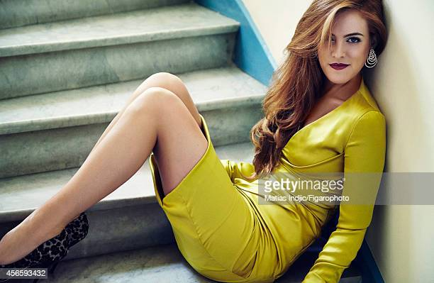 Model Riley Keough Presley is photographed for Madame Figaro on September 12 2014 in Paris France Dress earrings shoes Makeup by L'Oreal Paris...
