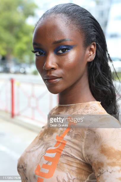 Model Riley Montana displays the makeup styling for the Laquan Smith show during New York Fashion Week at Pier 59 on September 8, 2019 in New York...