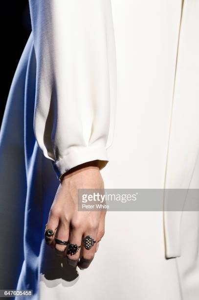 A model ring detail walks the runway during the Christian Dior show as part of the Paris Fashion Week Womenswear Fall/Winter 2017/2018 on March 3...