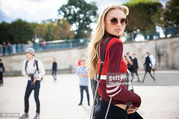 Model Romee Strijd after the Elie Saab show on day 5 of Paris Womens Fashion Week Spring/Summer 2017 on October 1 2016 in Paris France
