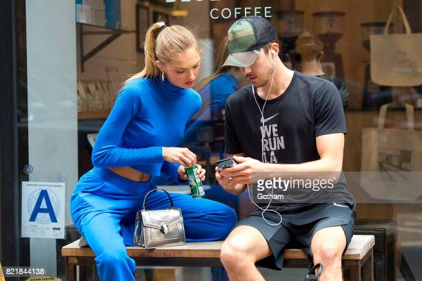Model Romee Strijd and DJ Laurens Van Leeuwen are seen in Chelsea on July 24 2017 in New York City