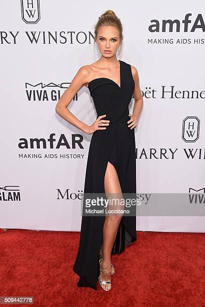 Model Romee Strijd attends 2016 amfAR New York Gala at Cipriani Wall Street on February 10 2016 in New York City