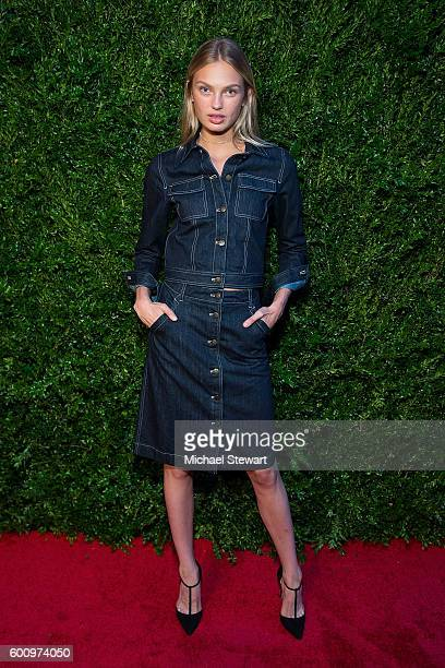 Model Romee Strijd attends the Saks Downtown x Vogue event at Saks Downtown on September 8 2016 in New York City