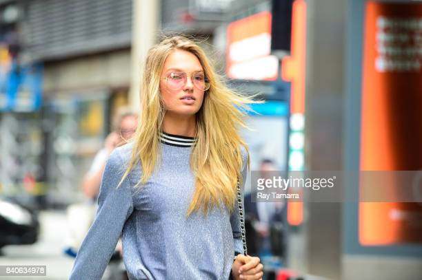 Model Romee Strijd enters an office building in Midtown Manhattan on August 29 2017 in New York City