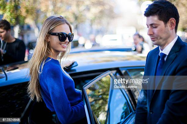 Model Romee Strijd is seen after the Giambattista Valli show on day 7 of Paris Womens Fashion Week Spring/Summer 2017 on October 3 2016 in Paris...