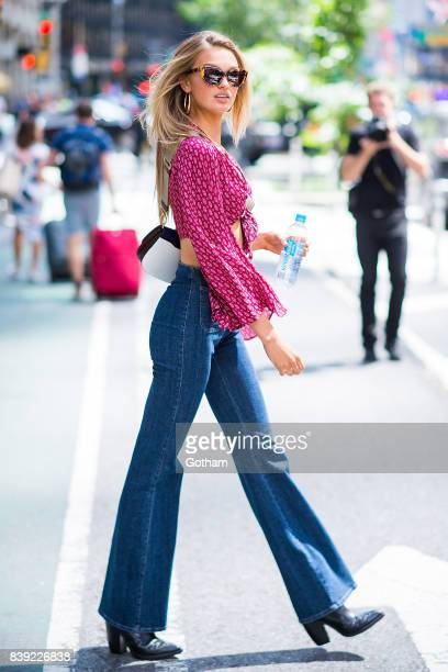 Model Romee Strijd is seen going to fittings for the 2017 Victoria's Secret Fashion Show in Midtown on August 25 2017 in New York City