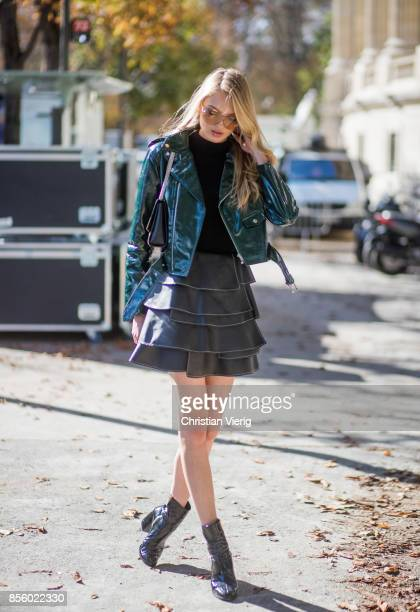 Model Romee Strijd is seen outside Elie Saab during Paris Fashion Week Spring/Summer 2018 on September 30 2017 in Paris France