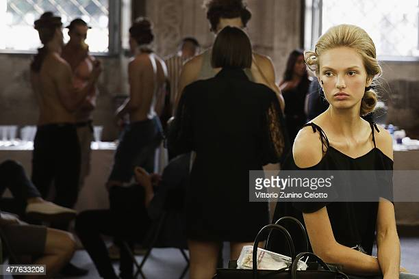 Model Romee Strijd poses backstage prior to the Moschino Men's Fashion Show Spring/Summer 2016 during the 88 Pitti Uomo on June 18 2015 in Florence...