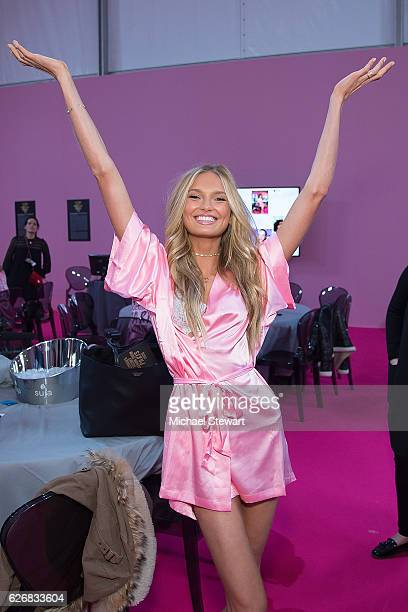 Model Romee Strijd prepares before the 2016 Victoria's Secret Fashion Show at Le Grand Palais in Paris on November 30 2016 in Paris France