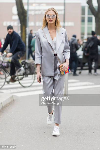 Model Romee Strijd wearing a grey suit outside Fendi during Milan Fashion Week Fall/Winter 2017/18 on February 23 2017 in Milan Italy