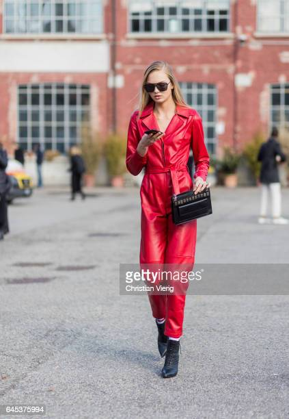 Model Romee Strijd wearing a red leather overall outside Missoni during Milan Fashion Week Fall/Winter 2017/18 on February 25 2017 in Milan Italy