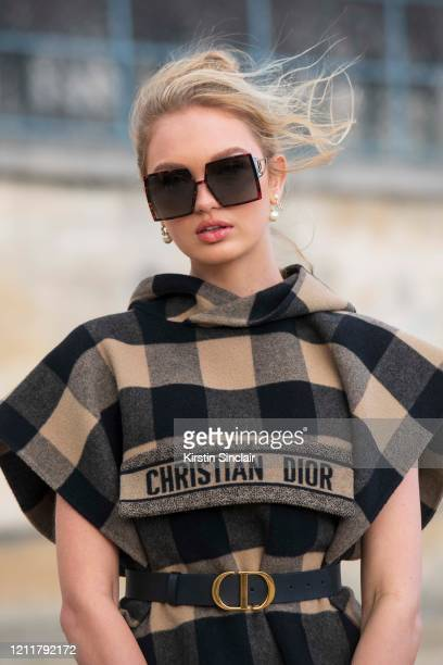 Model Romee Strijd wears all Dior on February 25, 2020 in Paris, France.