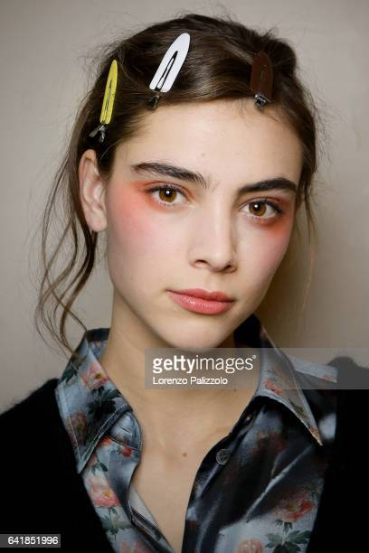Model Romy Schonberger beauty backstage detail poses Backstage prior the Giorgio Prive Armani Spring Summer 2017 show as part of Paris Fashion Week...
