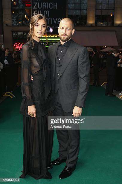 Model Ronja Furrer and musician Stress attend the 'The Man Who Knew Infinity' Premiere And Opening Ceremony during the Zurich Film Festival on...