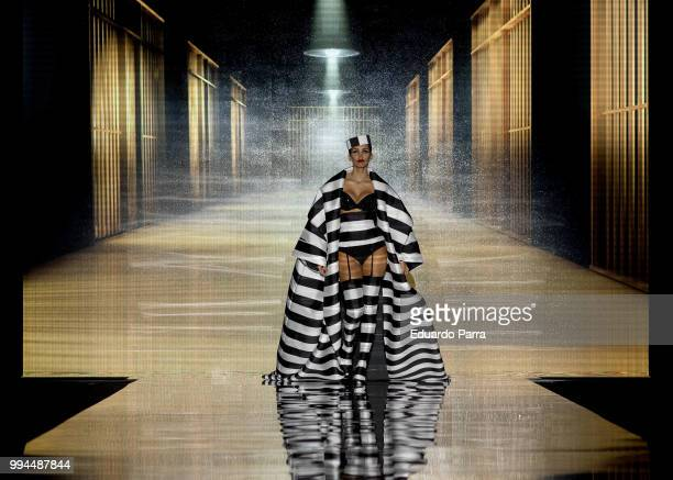 Model Rosanna Zanetti walks the runway at the Andres Sarda catwalk during the Mercedes Benz Fashion Week Spring/Summer 2019 at IFEMA on July 9 2018...
