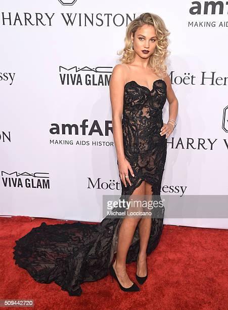 Model Rose Bertram attends 2016 amfAR New York Gala at Cipriani Wall Street on February 10 2016 in New York City